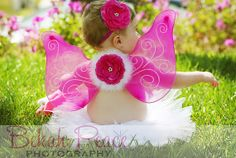 Pink Angel Wings Glitter Tutu & Headband Photo by LeilaAndGrace, $20.00