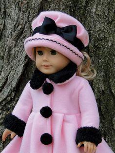 18 Inch Doll Clothing for American Girl Dolls - 3 PC Brand New Handmade Coat Set. $41.99, via Etsy.