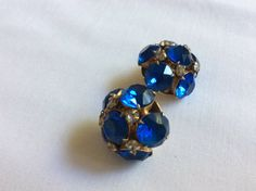 Blue Stone and Rhinestone Earrings Clip by FrouFrou4YouYou on Etsy