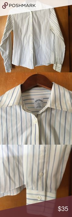 ce4a8381ae6 Brooks Brothers white w blue stripes button down