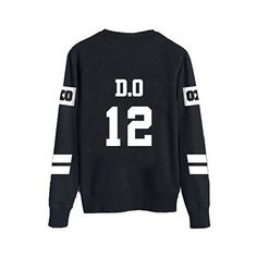 KPOP EXO Black Sweater Long Sleeve Hoody Pullover Sweatershirt ($17) ❤ liked on Polyvore featuring tops, pullover tops, sweater pullover, long sleeve tops and long sleeve pullover