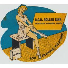 vintage roller skating decal