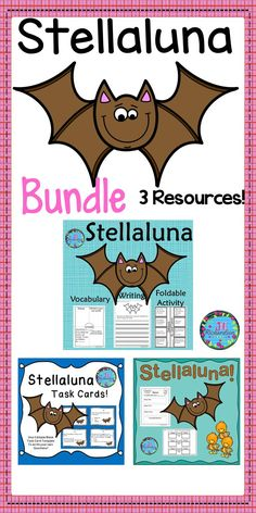 This Stellaluna Bundle is a collection of three resources to use after the children have read Stellaluna by Janell Cannon. Save by buying the bundle! This will be a very helpful Stellaluna resource for you to use year after year to help with reading comprehension!   Stellaluna Book Companion and Interactive Printable Stellaluna Task Cards Stellaluna Book Companion Printables See individual product links below.