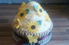 Cara Jones' lemon giant cupcake  - Your birthday cakes