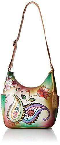 Anuschka Handpainted Leather Classic Hobo W/ Studded Side Pockets Jaipur Paisley Shoulder Bag, Jaipur Paisley, One Size -- You can get more details by clicking on the image.