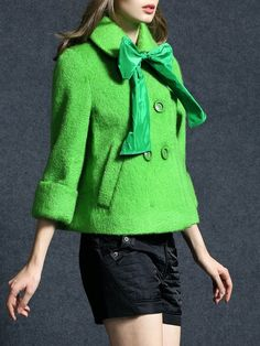 #AdoreWe #StyleWe Queen Mulock Green A-line Long Sleeve Shirt Collar Wool Buttoned Coat - AdoreWe.com