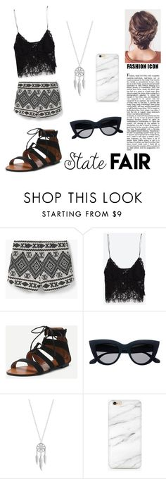 """summer date; State fair."" by cheyenne-summer-schoonover ❤ liked on Polyvore featuring MANGO, Zara, Lucky Brand, statefair and summerdate"