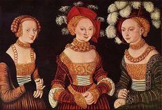 Portrait des princesses de Saxe, Sibylla, Emilia et Sidonie, vers 1535, Lucas Cranach l'Ancien, (Vienne, Kunsthistorisches Museum).