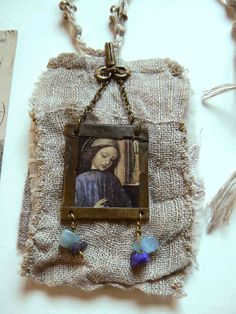 necklace textile pendant notebook for by frenchmanufacture