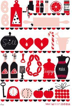 by Lotta Kulhorn Pattern Illustration, Flat Illustration, Graphic Illustrations, Scandinavian Pattern, Scandinavian Design, Food Design, Lotta, Bullet Journal Writing, Kitchen Prints