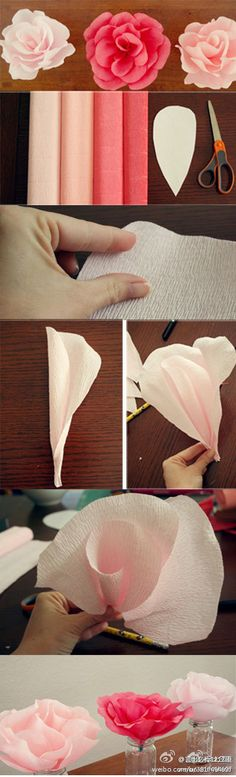 rose crepe paper flower tutorial
