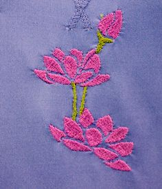 On Sale Periwinkle Blue Cap Sleeved Yoga Shirt embroidered with lotus flower design. Originally by Velocity. pict 2
