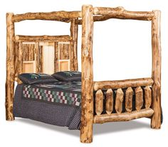 Amish Real Rustic Log Bookcase Bed with Canopy Delightful rustic style captured in a canopy bed. Plus there's a bookcase in the headboard. And there's an option to add drawers underneath. And you can choose from aspen, pine or cedar wood!