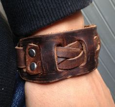 Antique Mens Brown Leather Cuff Bracelet, Leather Wrist Band Wristband Handcrafted Jewelry. $12.50, via Etsy.