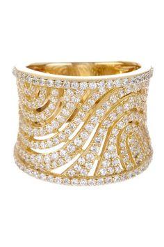 Pave CZ Intricate Wide Swirl Ring