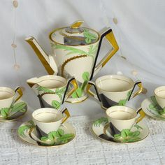 Rare 1930s Art Deco Coffee Set  Soho Pottery Ambassador Ware England - Palm Tree…