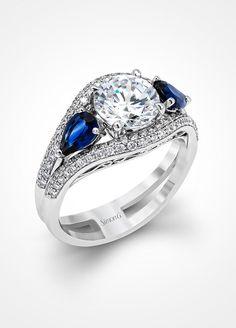 Diamond and Sapphire Engagement Ring. Simon G. Jewelry