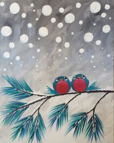 View upcoming paint and sip classes in Glenview. Local artists guide you step-by-step through a painting while you enjoy wine and have fun with friends. Book your public or private party today! Easy Canvas Painting, Winter Painting, Easy Paintings, Canvas Art, Love Bird Painting, Canvas Painting Designs, Christmas Paintings On Canvas, Christmas Canvas, Christmas Art
