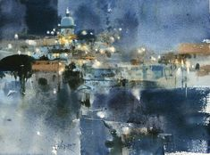 "阿瑪菲之夜 / The Night of Amalfi 27 x 36 cm. Demo by 簡忠威 Chien Chung Wei, ""I painted it as an abstract painting, and the night street lights were just a lot of stuff."""