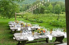 Dinner party set-up at the foot of the Smoky Mountains (in TN). Oh, how I wish I could do this! <3