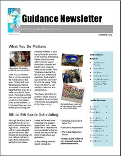 Great Guidance Newsletter--from http://themiddleschoolcounselor.blogspot.com/