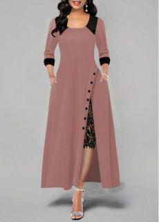 Party Dresses For Women Lace Panel Side Slit Button Detail Maxi Dress Source by fashionrotita Dresses Stylish Dresses, Elegant Dresses, Casual Dresses, Maxi Dresses, Party Dresses, Chiffon Dresses, Lace Maxi, Long Dresses, Occasion Dresses