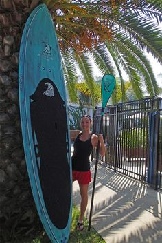Andree is Stoked For Life with her new carbon Seafoam 10'3' Mahalo and matching Seafoam paddle...