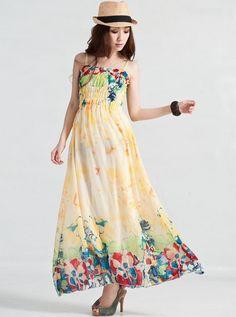Fashion Style Loose Gallus Flower Printing Bohemian Dress