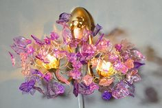 Hey, I found this really awesome Etsy listing at https://www.etsy.com/listing/210392850/double-bouquet-wall-lamppurple-shades
