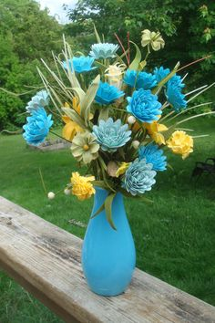 Blues hues  and Yellow Paper Flower by SweetPeaPaperFlowers, $23.00