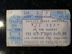 Ticket stub for ZZ Top at the Summit in Houston in October 1983—the Eliminator tour.  As I recall, I slept on a Hastings Records storefront sidewalk in College Station to get this ticket. #ticketstub #zztop