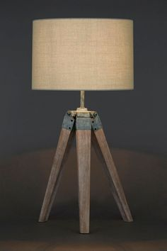 Tripod Base Ash Wooden Table Lamp And Bases