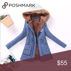 Winter parka, dusty blue! Lightly padded hooded winter parka, has faux fur lining. Slim at the waist. Runs small, i suggest ordering a size up. Comes in S,M,L,XL,XXL,3X. Item will be received in 2-3 weeks. Order must be accepted upon purchase or poshmark will cancel the order. Jackets & Coats Trench Coats