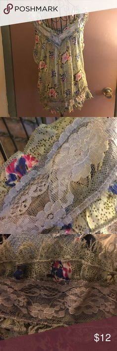Nwot lightweight comfortable lace embellished M All reasonable offers will be excepted greenish gray Tops Blouses