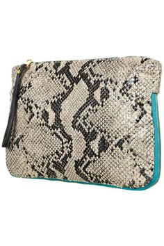 TOPSHOP	Faux Snake Zip Clutch Bag