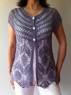 Ravelry: Jamie - short sleeve crochet vest pattern by Vicky Chan