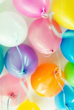 Bunch of multi colored balloons and ribbons seen from below while floating in sunny room by Laura Stolfi