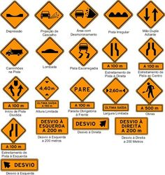 Placas de trânsito e seus significados Driving Basics, Driving Test Tips, Driving School, Learning Cards, Learning To Drive, All Traffic Signs, Driving Signs, Traffic Symbols, Drivers Permit
