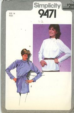 1980s Belted Tunic, Asymetrical button Blouse Pattern Size 14 Simplicity 9471, U - Women