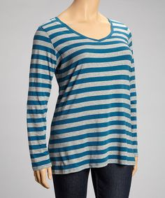 Take a look at this Real Teal Stripe Long-Sleeve V-Neck Top - Plus by Derek Heart on #zulily today!