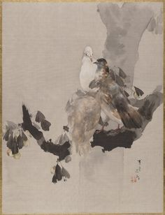 Pigeons - asian watercolor - Artwork by Watanabe Seitei