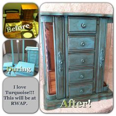 Jewelry cabinet before and after being painted with my favorite turquoise paint   DuctTapeAndDenim.com