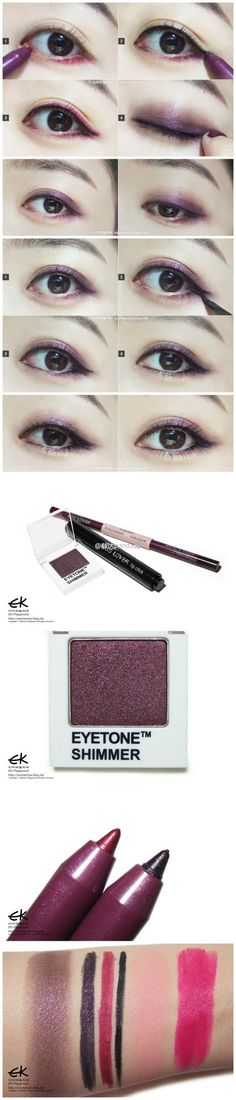 Korean purple eye make-up tutorial~ It's bolder than what I normally do, but so pretty!