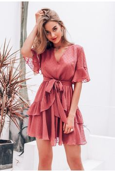 Short Dress Women Summer VNeck Polka Dot Layer Ruffle Chiffon Mini Dress Casual Holiday Beach Dress Sundress Color Pink Size S Elegant Dresses, Cute Dresses, Casual Dresses, Short Dresses, Fashion Dresses, Mini Dresses, Flowy Dresses, Awesome Dresses, Chiffon Dresses