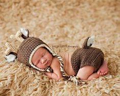 PATTERN Deer Crochet Newborn Outfit Baby 0-3 by BeeMineCrochet