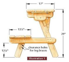 How to build a picnic table with attached benches - Plan table de jardin en bois ...