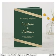 Shop Elegant geometric forest green gold Wedding Program created by paperi. Unique Wedding Programs, Ceremony Programs, Wedding Ceremony, Green Gold Weddings, Glam Girl, Elegant Chic, Glamorous Wedding, Green And Gold, Invitations