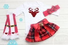 Girls Christmas Outfit Christmas Set Deer by NylaMarieKids on Etsy