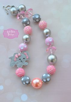 Items similar to elephant necklace circus balloon Grey Gray Elephant with Pink Bow available Chunky Pearl Bubblegum Necklace on Etsy Little Girl Jewelry, Baby Jewelry, Kids Jewelry, Cute Jewelry, Jewelry Crafts, Beaded Jewelry, Handmade Jewelry, Jewelry Making, Beaded Bracelets