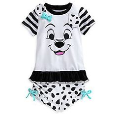 She'll steal the spotlight by pool or shore in our adorable Dalmatian rash guard swim top with matched bottoms. Puppy ears and bow appliqué, plus contrast double-layer ruffled hem, make this suit set ''Best in Show.''